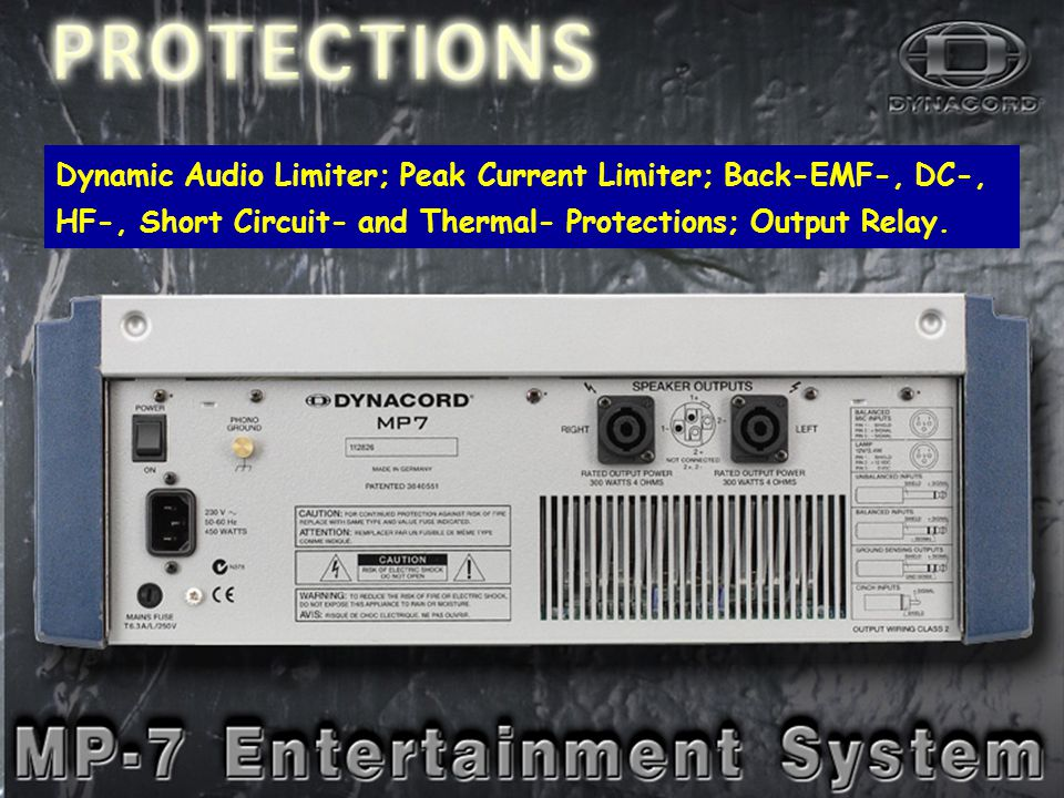 PowerOut-2 Dynamic Audio Limiter; Peak Current Limiter; Back-EMF-, DC-, HF-, Short Circuit- and Thermal- Protections; Output Relay.