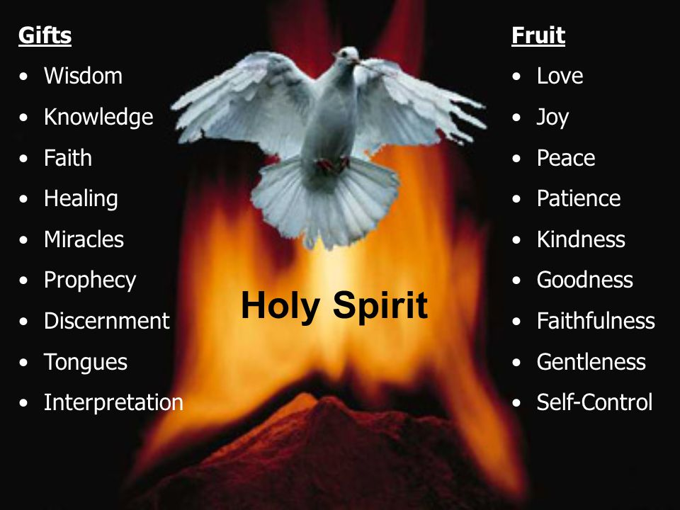 Holy Spirit Gifts Wisdom Knowledge Faith Healing Miracles Prophecy Discernment Tongues Interpretation Fruit Love Joy Peace Patience Kindness Goodness Faithfulness Gentleness Self-Control