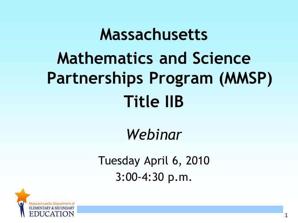 12 RFP PRIORITIES Mathematics adopt the Massachusetts Intel Mathematics Initiative (MIMI) model for teachers in grades K-8.