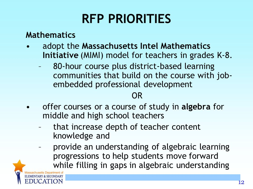 12 RFP PRIORITIES Mathematics adopt the Massachusetts Intel Mathematics Initiative (MIMI) model for teachers in grades K-8.