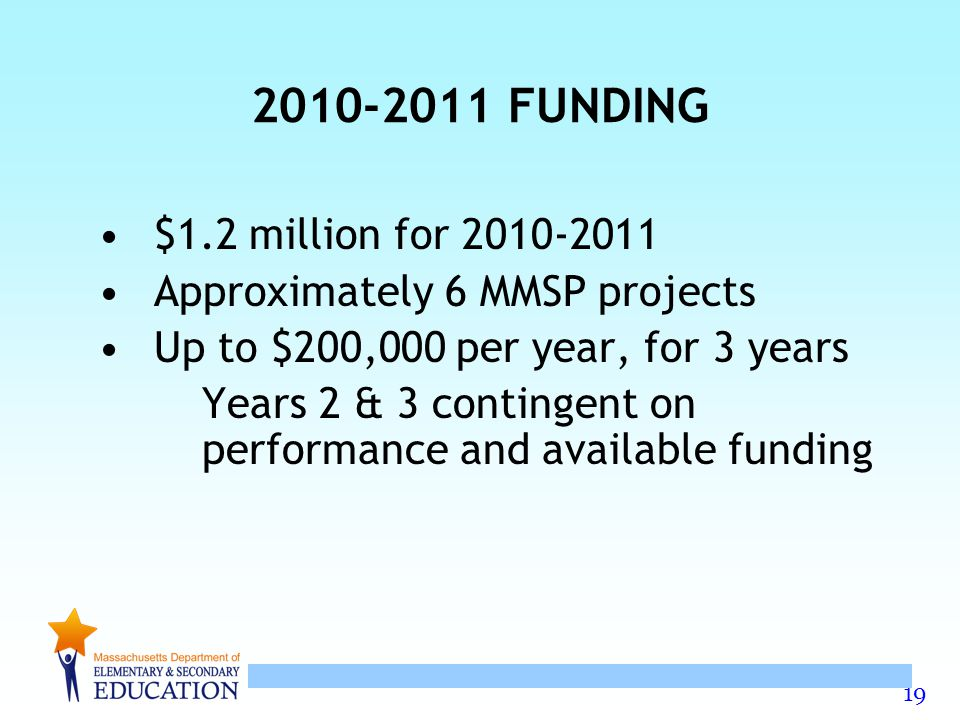 19 2010-2011 FUNDING $1.2 million for 2010-2011 Approximately 6 MMSP projects Up to $200,000 per year, for 3 years Years 2 & 3 contingent on performance and available funding