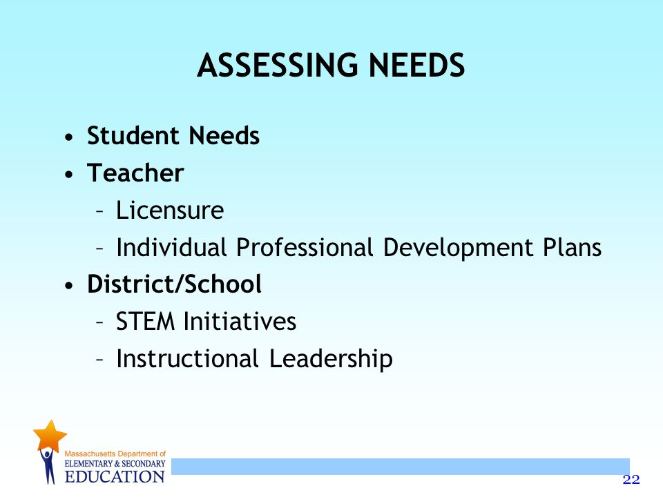 22 ASSESSING NEEDS Student Needs Teacher –Licensure –Individual Professional Development Plans District/School –STEM Initiatives –Instructional Leadership