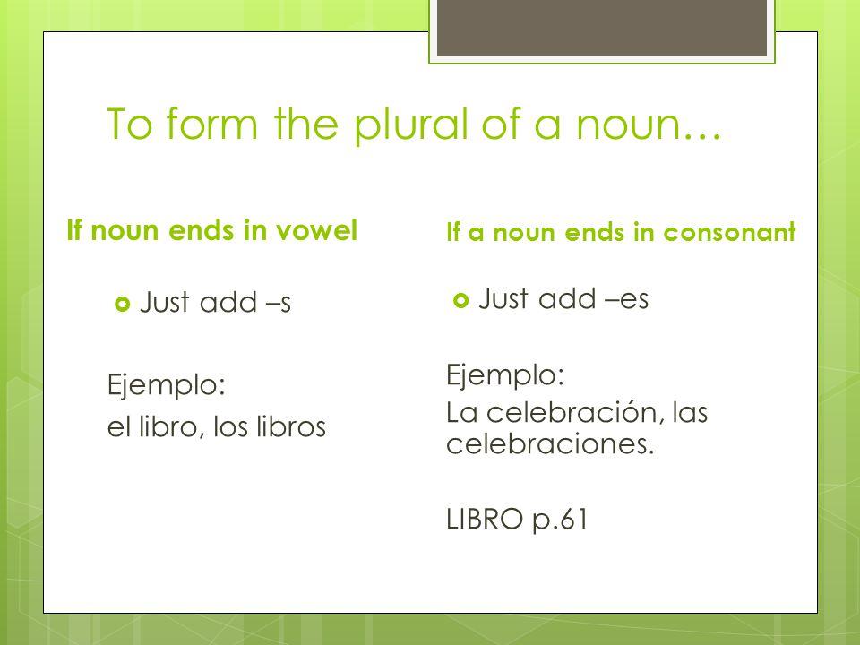 To form the plural of a noun… If noun ends in vowel  Just add –s Ejemplo: el libro, los libros If a noun ends in consonant  Just add –es Ejemplo: La celebración, las celebraciones.