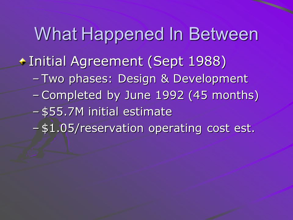 What Happened In Between Initial Agreement (Sept 1988) –Two phases: Design & Development –Completed by June 1992 (45 months) –$55.7M initial estimate –$1.05/reservation operating cost est.