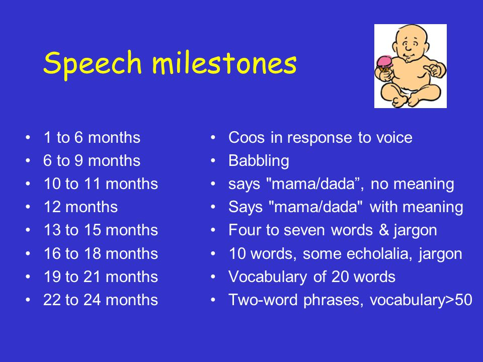 Speech milestones 1 to 6 months 6 to 9 months 10 to 11 months 12 months 13 to 15 months 16 to 18 months 19 to 21 months 22 to 24 months Coos in response to voice Babbling says mama/dada , no meaning Says mama/dada with meaning Four to seven words & jargon 10 words, some echolalia, jargon Vocabulary of 20 words Two-word phrases, vocabulary>50