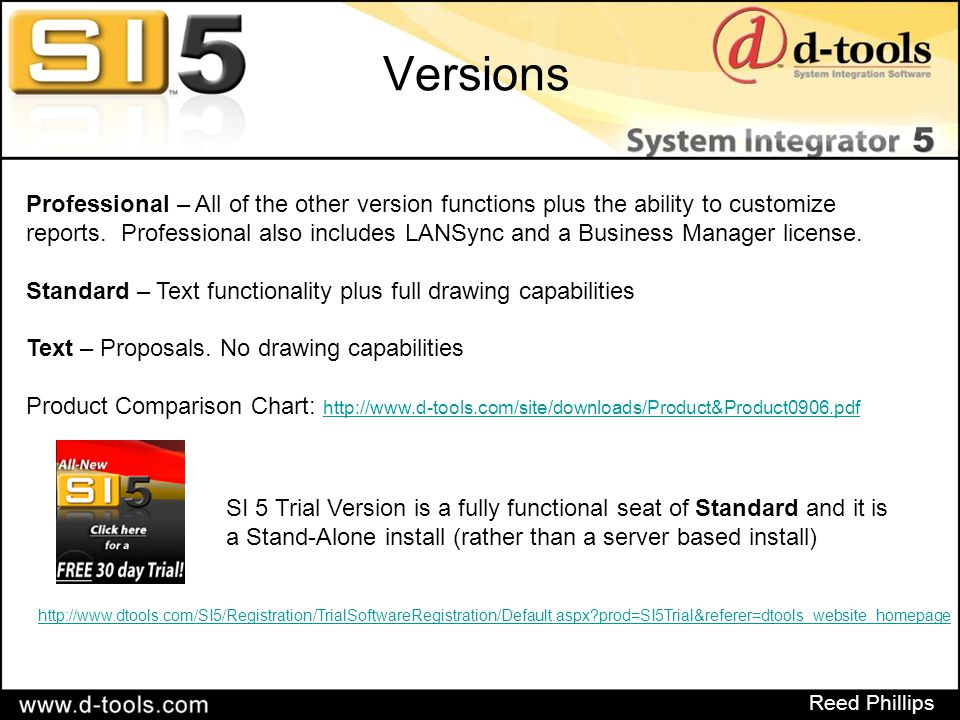 Reed Phillips 3 rd Party Software In order to take advantage of the drawing functionality of SI 5, you will need to have Microsoft Visio and/or AutoCAD loaded on your machine Version compatibility: Visio – 2003 and 2007 AutoCAD – Full version 2006 or 2007 These installs are NOT included with the Trial download of SI 5 Downloadable trial of Visio 2007 can be found here: http://us20.trymicrosoftoffice.com/product.aspx?re_ms=oo&family=visioprofessional&culture=en-US
