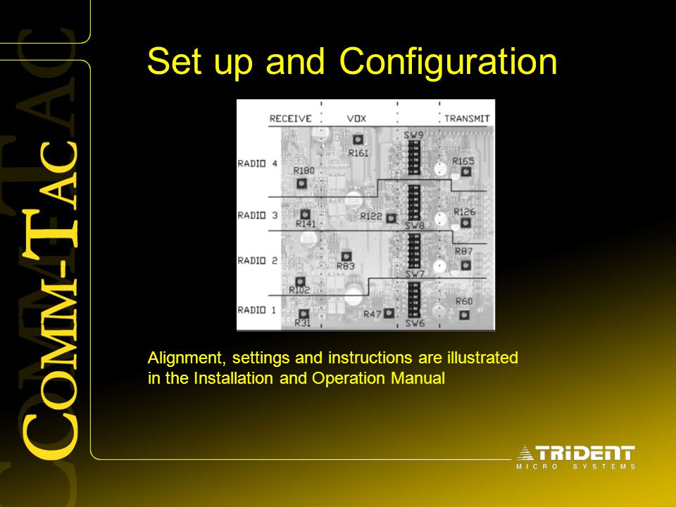 Set up and Configuration Alignment, settings and instructions are illustrated in the Installation and Operation Manual