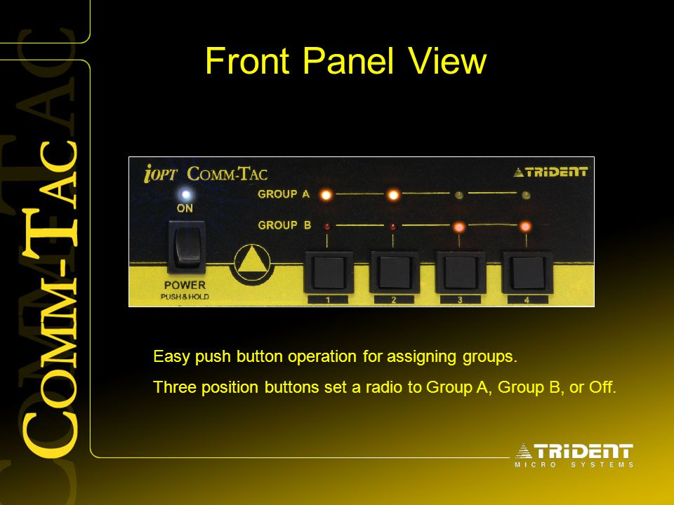 Front Panel View Easy push button operation for assigning groups. Three position buttons set a radio to Group A, Group B, or Off.