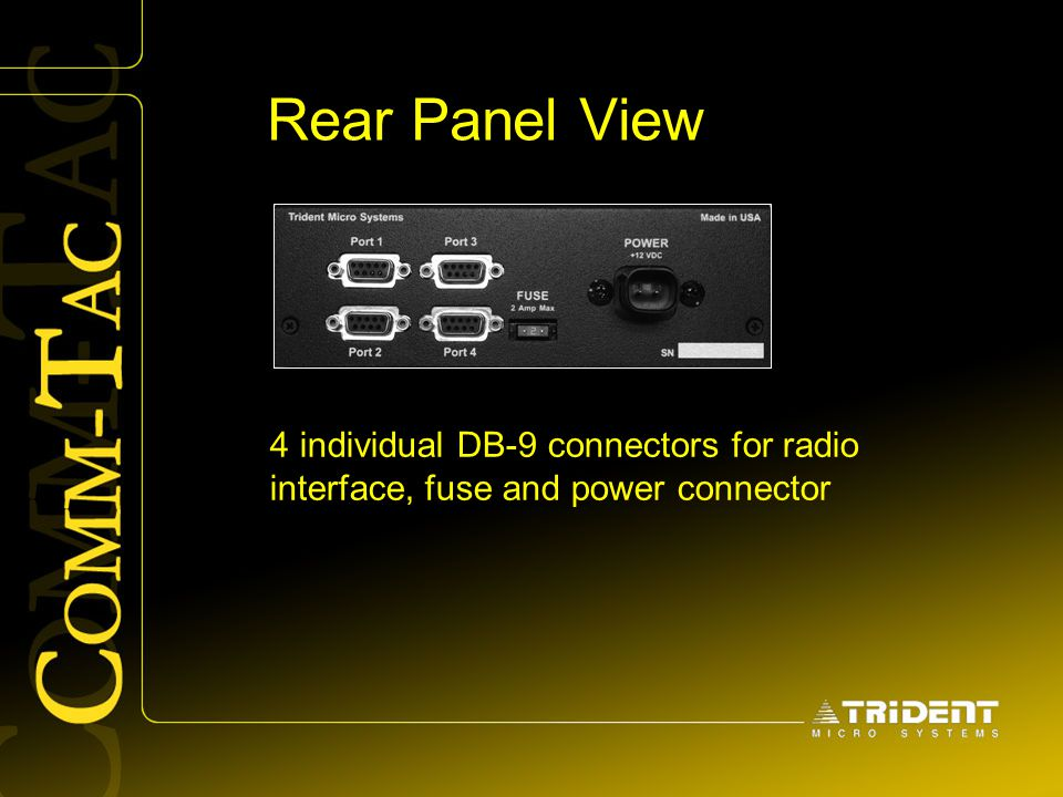 Rear Panel View 4 individual DB-9 connectors for radio interface, fuse and power connector