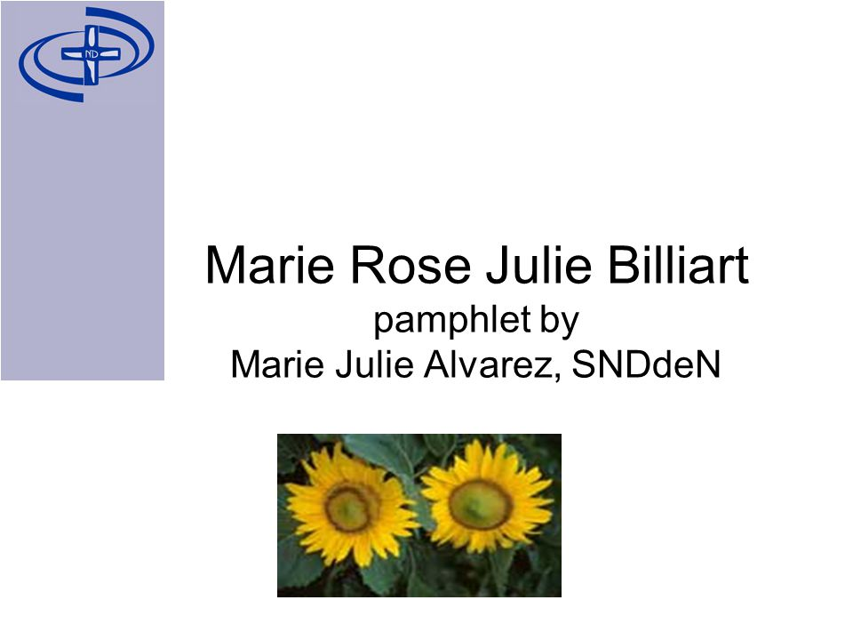 Marie Rose Julie Billiart pamphlet by Marie Julie Alvarez, SNDdeN