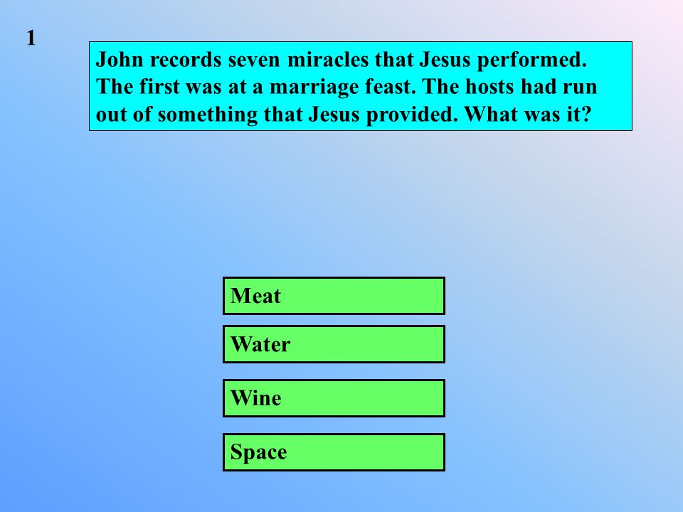John records seven miracles that Jesus performed. The first was at a marriage feast.