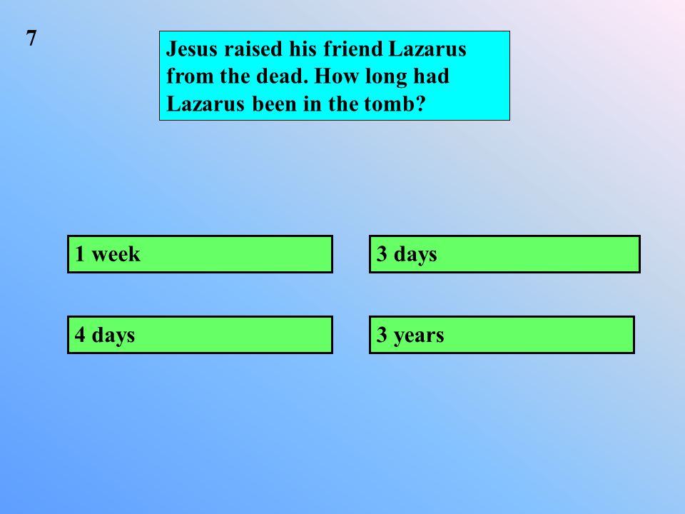 Jesus raised his friend Lazarus from the dead. How long had Lazarus been in the tomb.