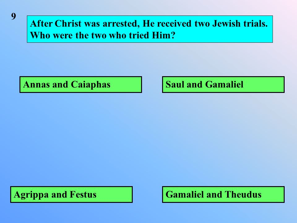 After Christ was arrested, He received two Jewish trials.