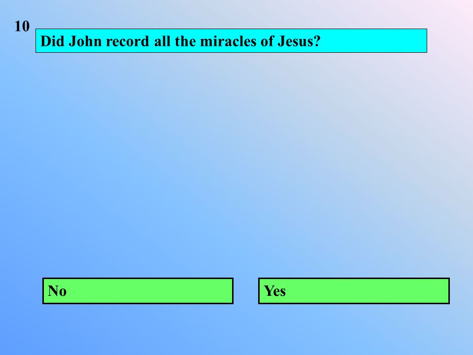 Did John record all the miracles of Jesus NoYes 10