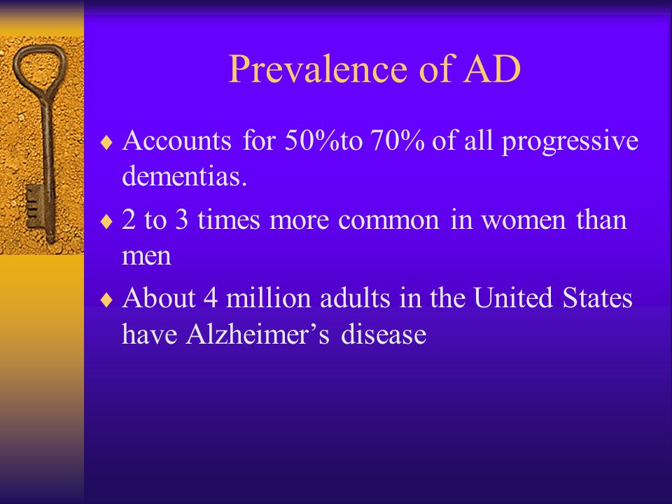 Prevalence of AD  Accounts for 50%to 70% of all progressive dementias.
