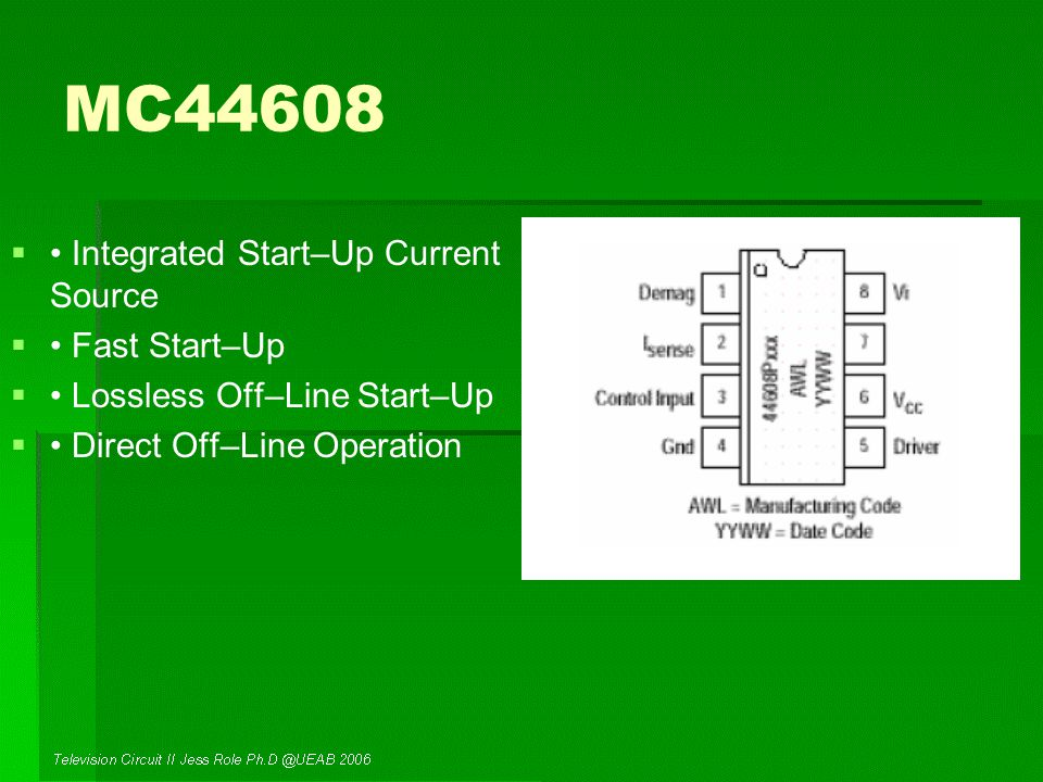 MC44608   Integrated Start–Up Current Source   Fast Start–Up   Lossless Off–Line Start–Up   Direct Off–Line Operation