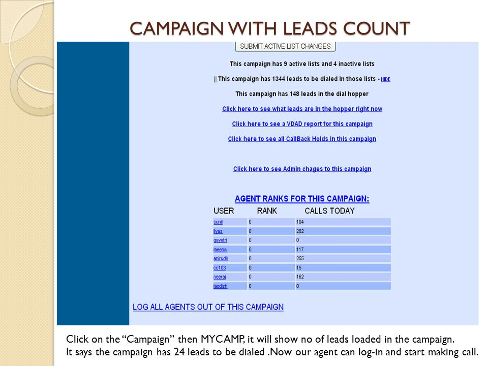 CAMPAIGN WITH LEADS COUNT Click on the Campaign then MYCAMP, it will show no of leads loaded in the campaign.