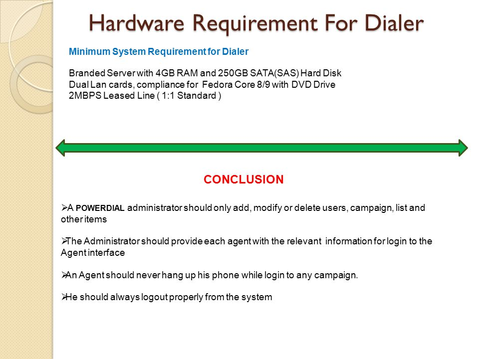 Hardware Requirement For Dialer Branded Server with 4GB RAM and 250GB SATA(SAS) Hard Disk Dual Lan cards, compliance for Fedora Core 8/9 with DVD Drive 2MBPS Leased Line ( 1:1 Standard ) Minimum System Requirement for Dialer  A POWERDIAL administrator should only add, modify or delete users, campaign, list and other items  The Administrator should provide each agent with the relevant information for login to the Agent interface  An Agent should never hang up his phone while login to any campaign.