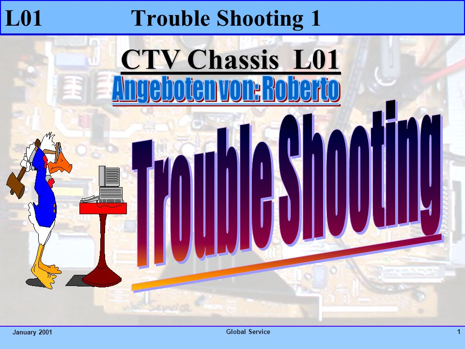 Global Service1 January 2001 CTV Chassis L01 L01 Trouble Shooting 1