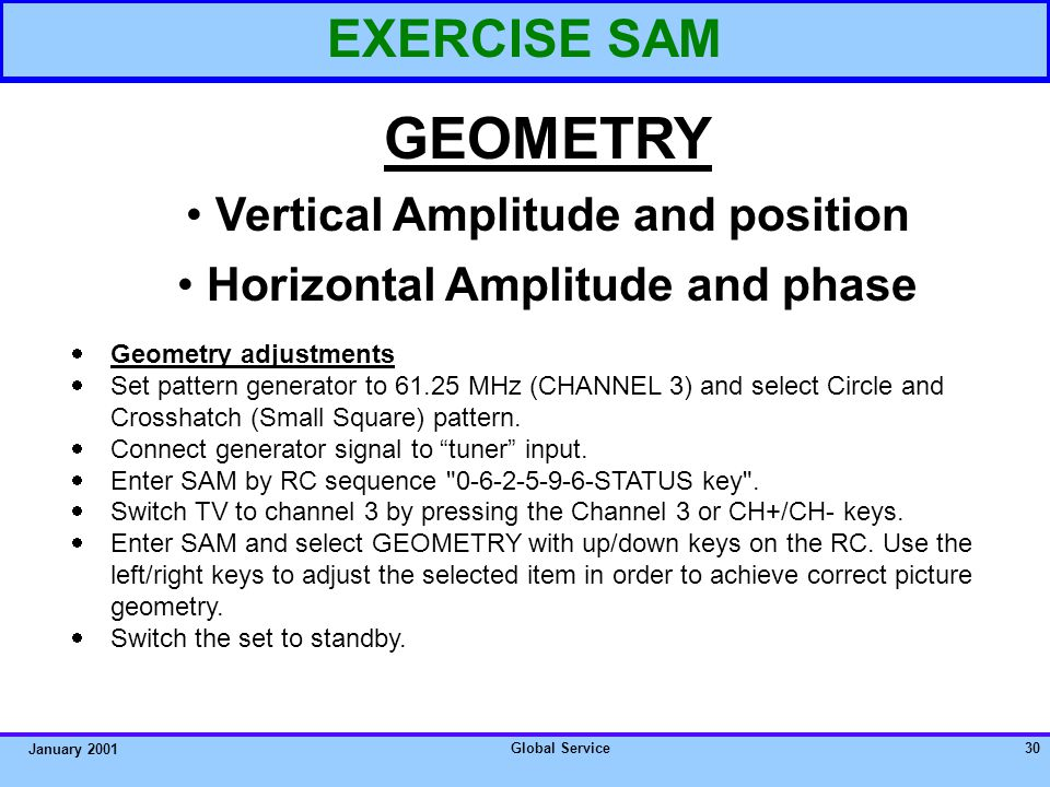 Global Service29 January 2001 EXERCISE SAM GEOMETRY Vertical Amplitude and position Horizontal Amplitude and phase HOW