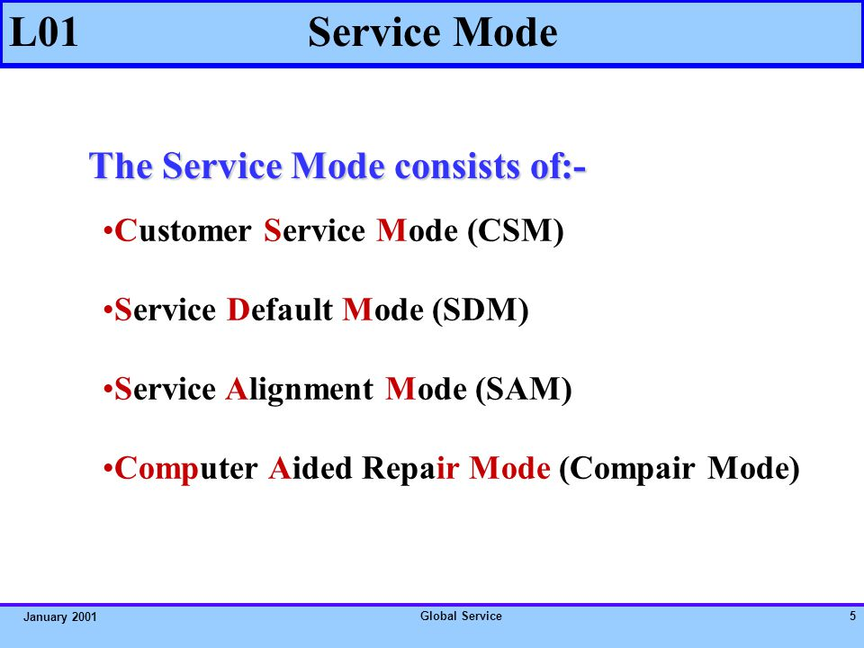 Global Service55 January 2001 L01 PRACTICAL EXERCISE 6 Screen without Picture & Sound Answer: problem is expected to be in the Tuner 1000.