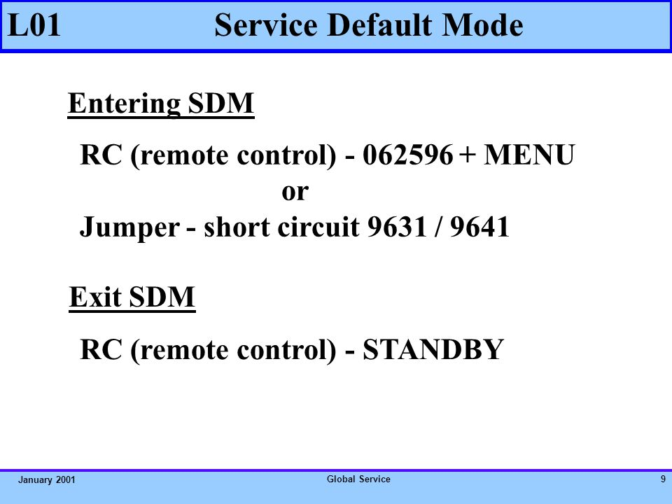 Global Service9 January 2001 L01 Service Default Mode RC (remote control) - 062596 + MENU or Jumper - short circuit 9631 / 9641 Entering SDM Exit SDM RC (remote control) - STANDBY