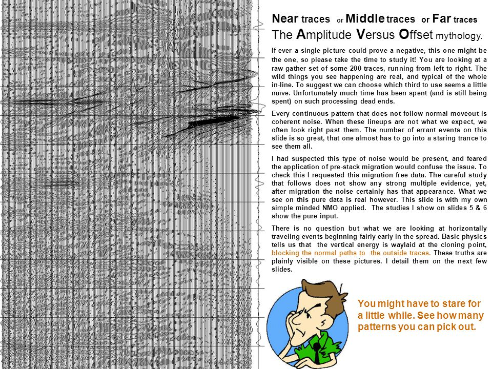 Near traces or Middle traces or Far traces The A mplitude V ersus O ffset mythology.