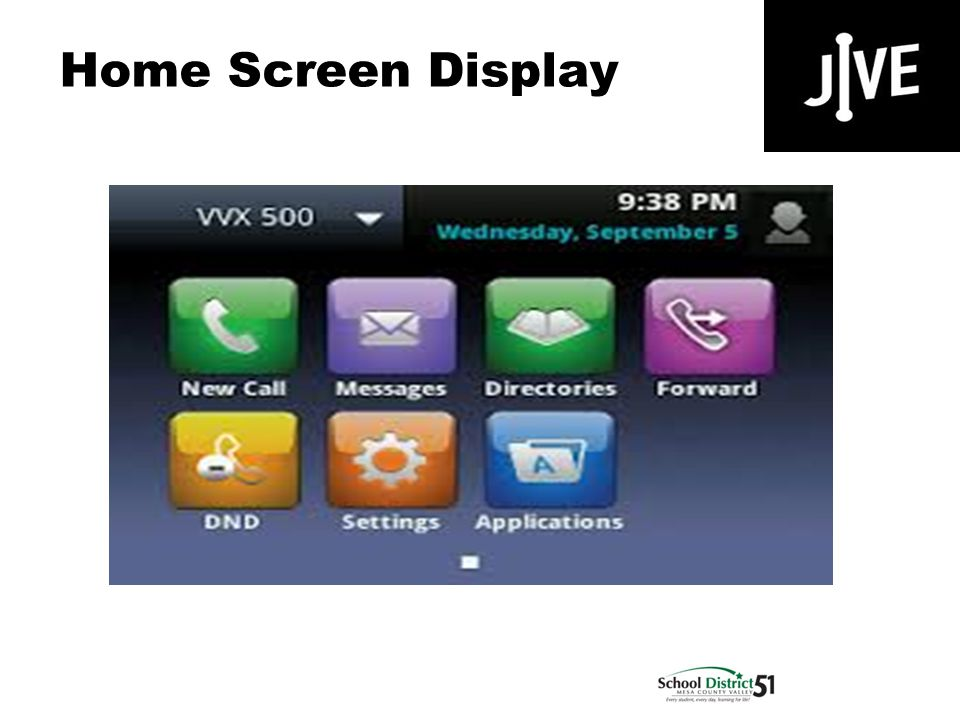 Home Screen Display Polycom VVX 500