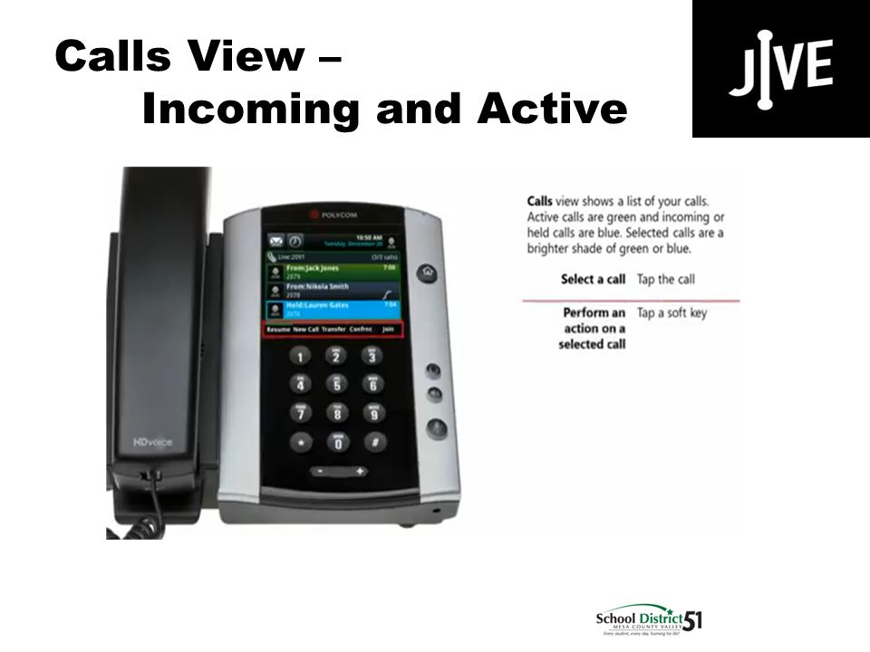 Calls View – Incoming and Active Polycom VVX 500
