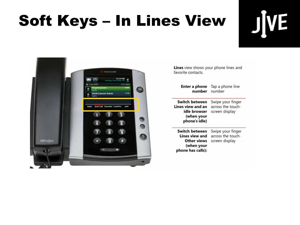 Soft Keys – In Lines View Polycom VVX 500