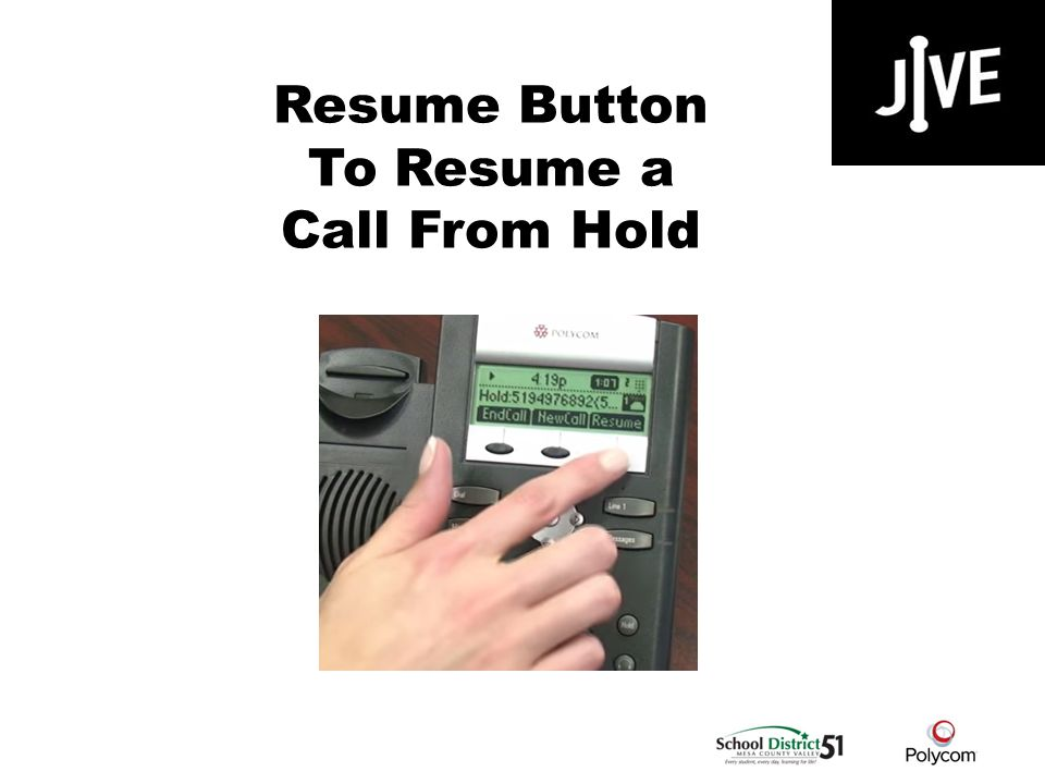 Resume Button To Resume a Call From Hold