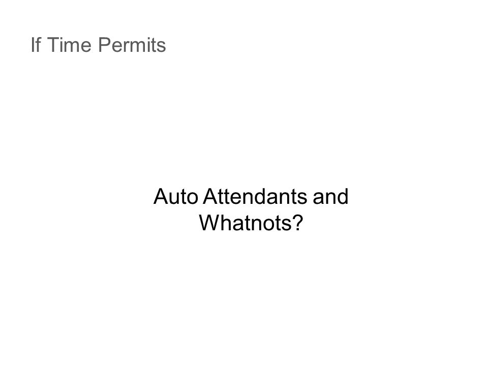If Time Permits Auto Attendants and Whatnots?