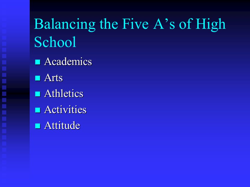Balancing the Five A's of High School Academics Academics Arts Arts Athletics Athletics Activities Activities Attitude Attitude