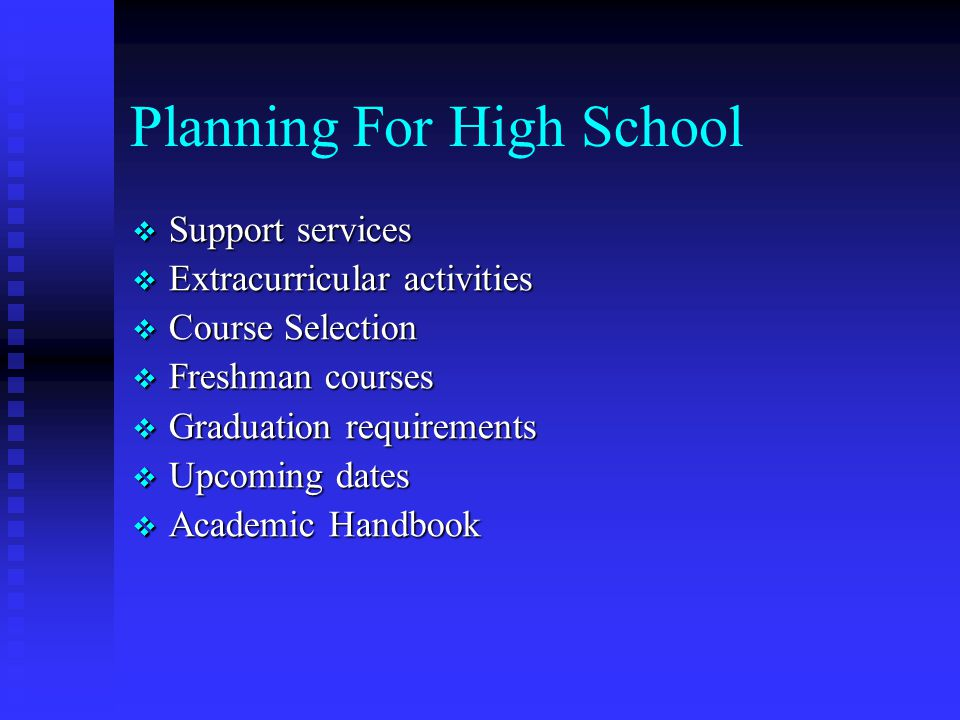 Role of the Counselor  Every student will be assigned a counselor  Promote student's success in academic, social, and emotional areas  Career development for the student  Post-secondary planning for the student  Collaboration among parents, student, teachers, and administrators