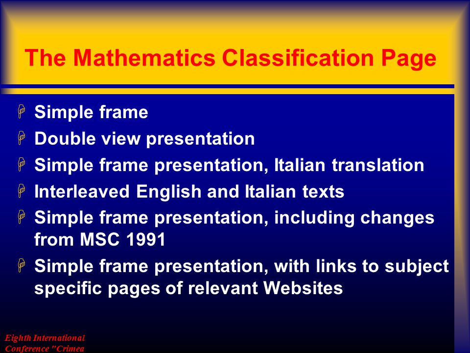 The Mathematics Classification Page The Mathematics Classification Page MSC2000 libraries H-volumi
