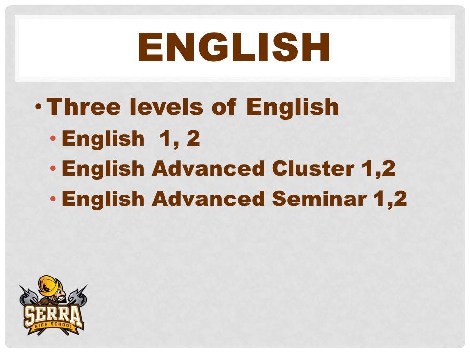 ENGLISH Three levels of English English 1, 2 English Advanced Cluster 1,2 English Advanced Seminar 1,2