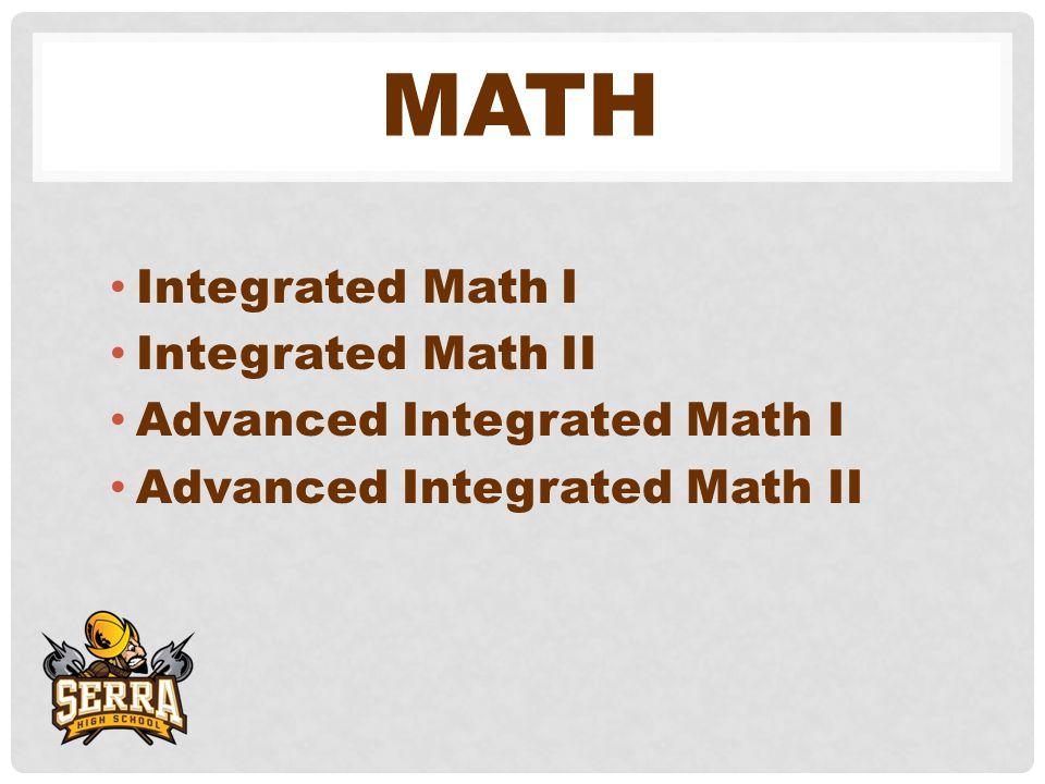MATH Integrated Math I Integrated Math II Advanced Integrated Math I Advanced Integrated Math II