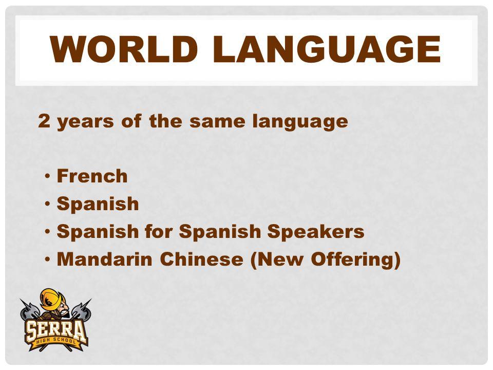 WORLD LANGUAGE 2 years of the same language French Spanish Spanish for Spanish Speakers Mandarin Chinese (New Offering)