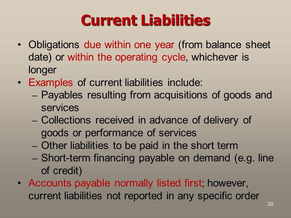 20 Current Liabilities Obligations due within one year (from balance sheet date) or within the operating cycle, whichever is longer Examples of curren