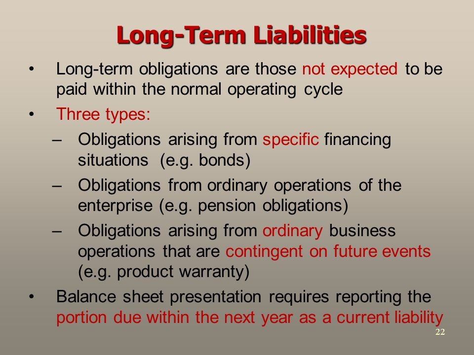 22 Long-Term Liabilities Long-term obligations are those not expected to be paid within the normal operating cycle Three types: –Obligations arising f