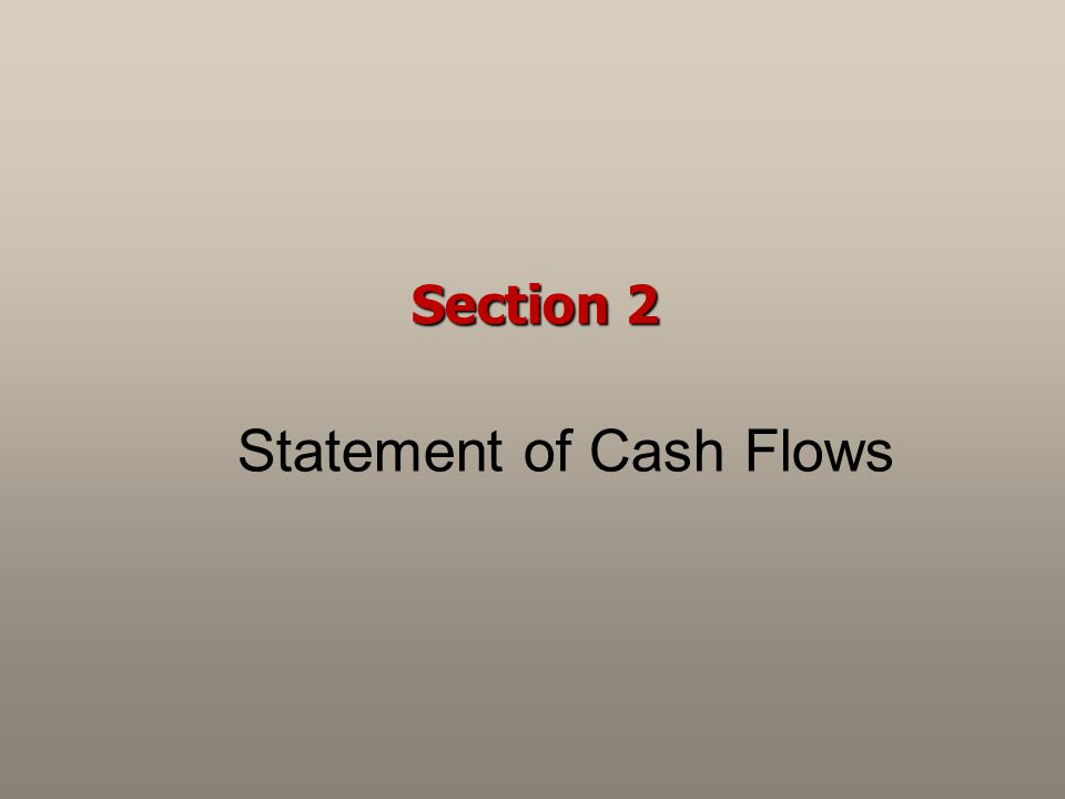 Section 2 Statement of Cash Flows