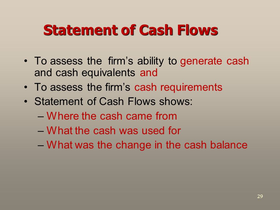 29 Statement of Cash Flows To assess the firm's ability to generate cash and cash equivalents and To assess the firm's cash requirements Statement of