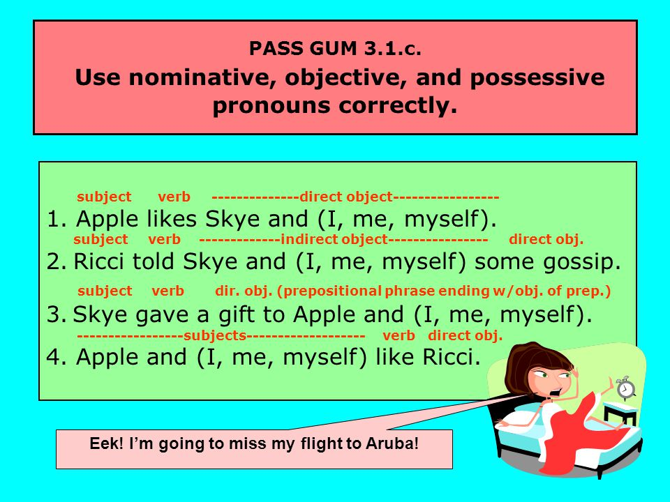 PASS GUM 3.1.c. Use nominative, objective, and possessive pronouns correctly.
