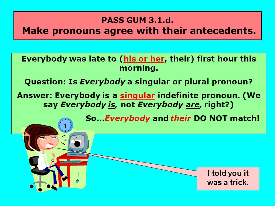 PASS GUM 3.1.d. Make pronouns agree with their antecedents.