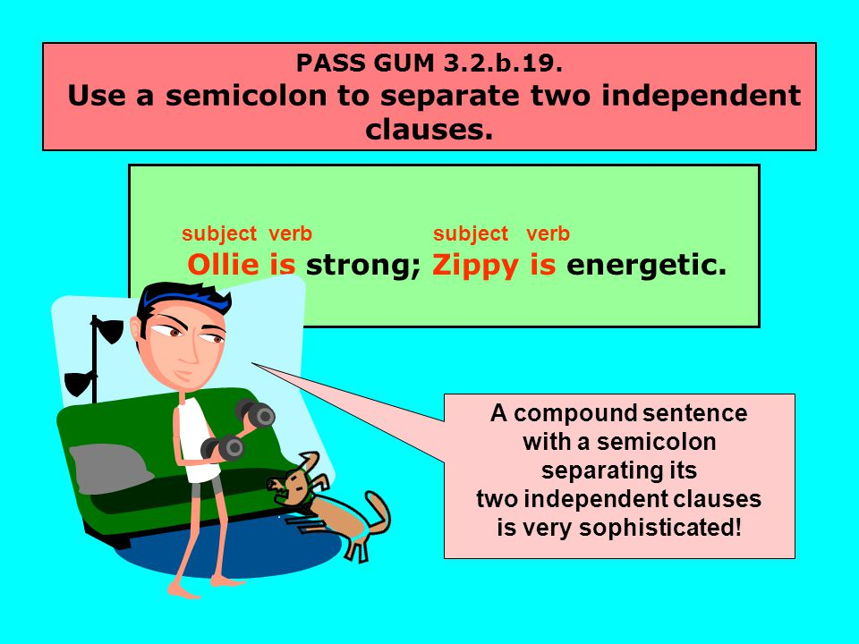 PASS GUM 3.2.b.19. Use a semicolon to separate two independent clauses.