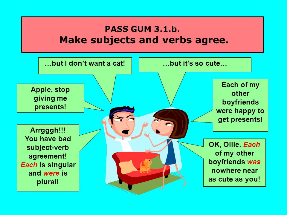 PASS GUM 3.1.b. Make subjects and verbs agree. …but I don't want a cat.