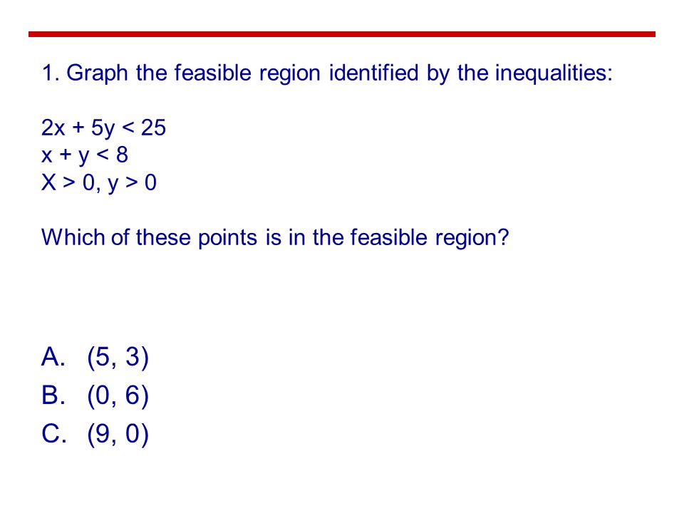 A.(5, 3) B.(0, 6) C.(9, 0) 1. Graph the feasible region identified by the inequalities: 2x + 5y 0, y > 0 Which of these points is in the feasible regi