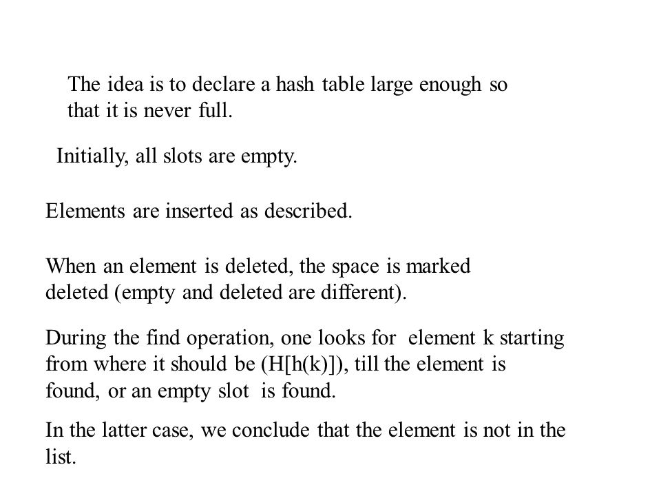 The idea is to declare a hash table large enough so that it is never full.