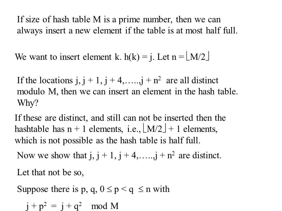 If size of hash table M is a prime number, then we can always insert a new element if the table is at most half full.