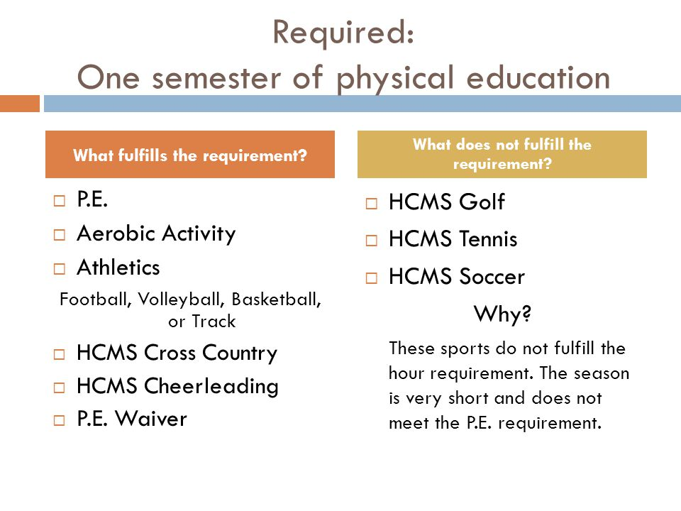 Required: One semester of physical education  P.E.